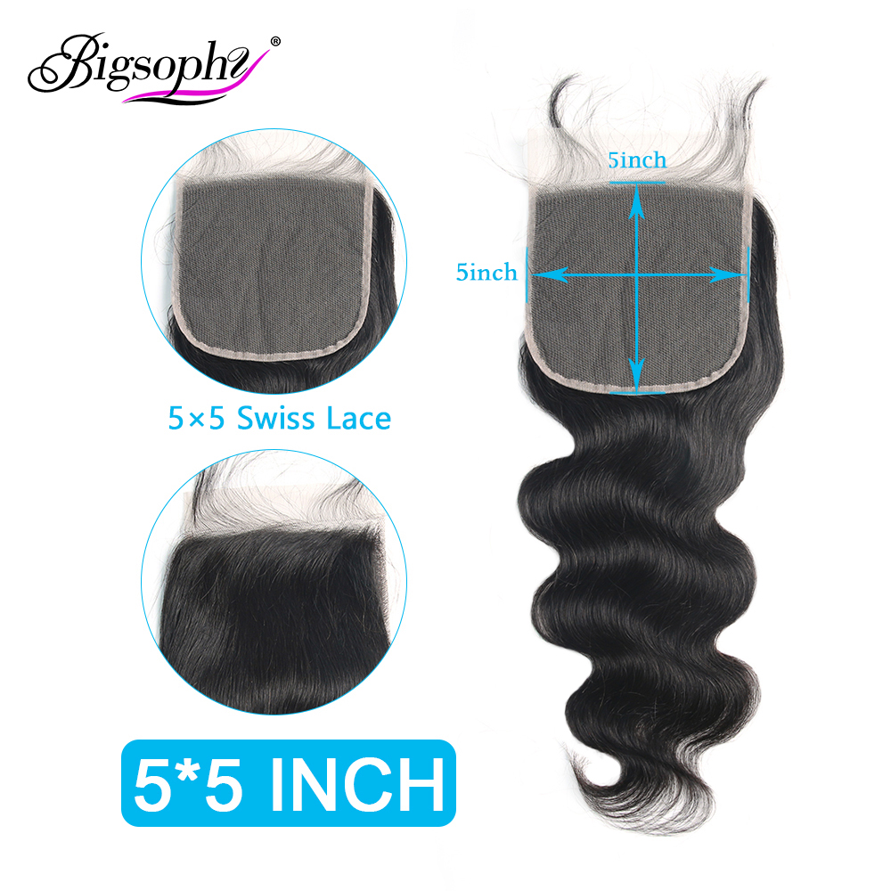 Bigsophy Hair Body Wave 5x5 Lace Closure Mongolian Hair 100 Human Remy Hair Free Part With Baby Hair Natural Color Closure Lace in Closures from Hair Extensions Wigs