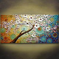 Hot Handpainted modern picture home decor wall art picture Knife Boat Oil Painting thick palette canvas picture Christmas Gift