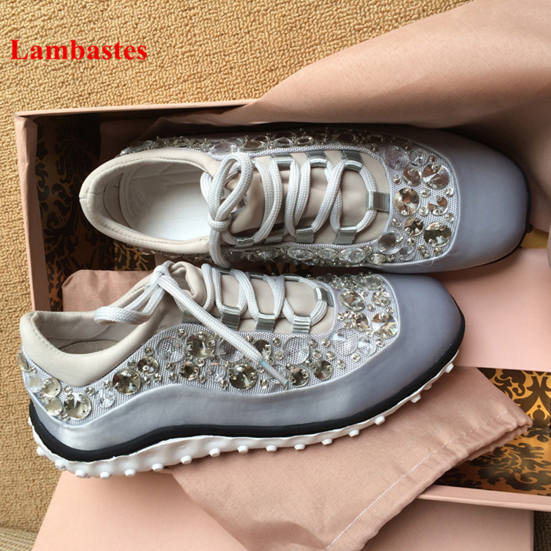 2018 New Flats Shoes Women Crystal Embellished Silk Lace Up Women Sneakers Round Toe Platform Casual Running Shoes Women Zapatos smile circle 2018 new genuine leather sneakers women lace up flats shoes women casual shoes round toe flats platform shoes c6004