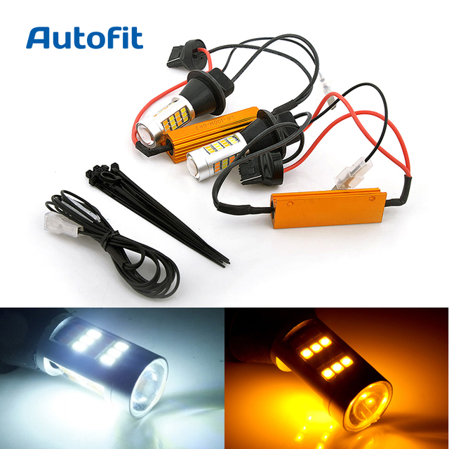 2x T20 W21w Can Bus Led Day Light Led Car White Amber Dual