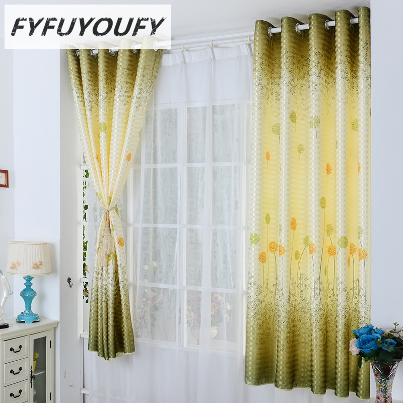 FYFUYOUFY Dandelion Embroidered Curtain Silk Shading Short Curtains For The  Living Room Bedroom The Curtains For