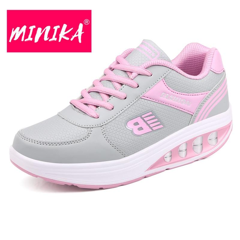 MINIKA Lace Up Platform Sneakers Women Durable Rubber Outsole Swing Women Flat Shoes Height Increase Healthy Women Sneakers