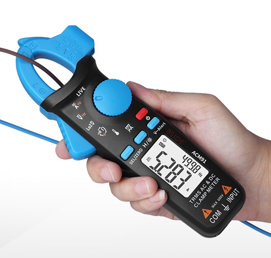 Купить с кэшбэком BSIDE ACM91 Digital Clamp Meter AC/DC Current 1mA True RMS Auto Range Live Check NCV Temp Frequency Capacitor Tester Multimeter
