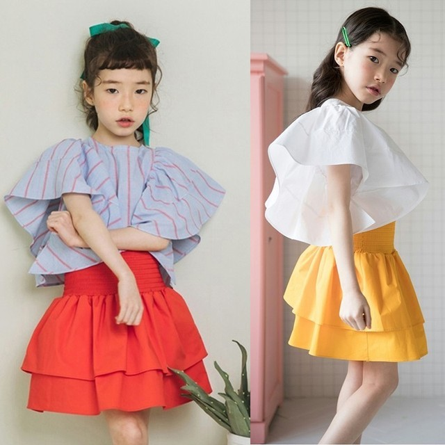 216b770e0 cotton teenage skirt girls princess clothing layered ruffles red yellow  high waist skirt children spring summer 2018 clothes