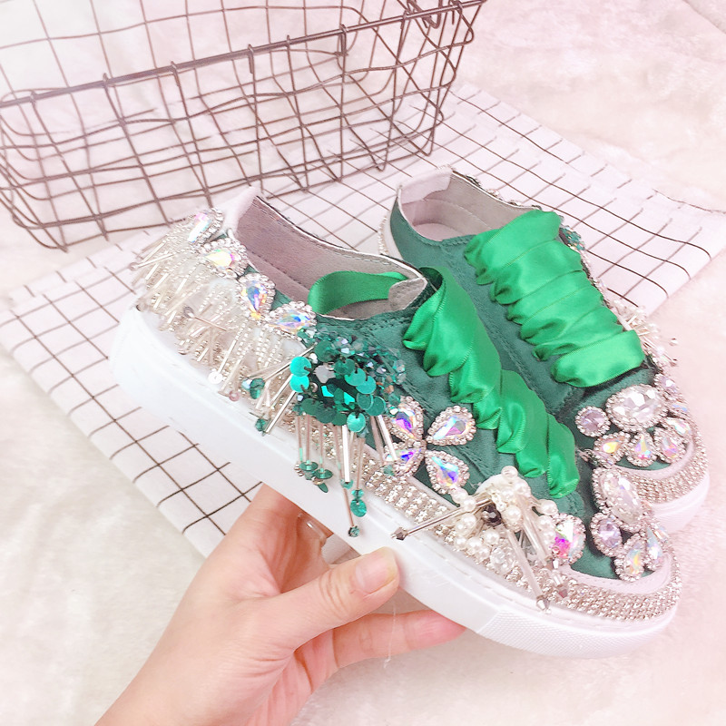 Rhinestone Women Canvas Shoes 2019 New Casual Flat Shoes European Silk Satin Sneakers Female Shoes Ladies Loafers-in Women's Vulcanize Shoes from Shoes    1