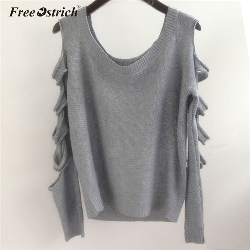 Free Ostrich Sweater Women Off The Shoulder Long Sleeve O-Neck Fashion Holes Solid Casual Knitted Pullovers Pull Femme A0840 ...