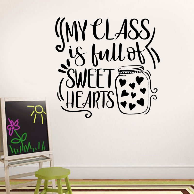 My Class Is Full Of Sweat Hearts Cute Quote Decals Vinyl Nursery Decor Wall Sticker School Teacher Valentines Gift Mural BO44