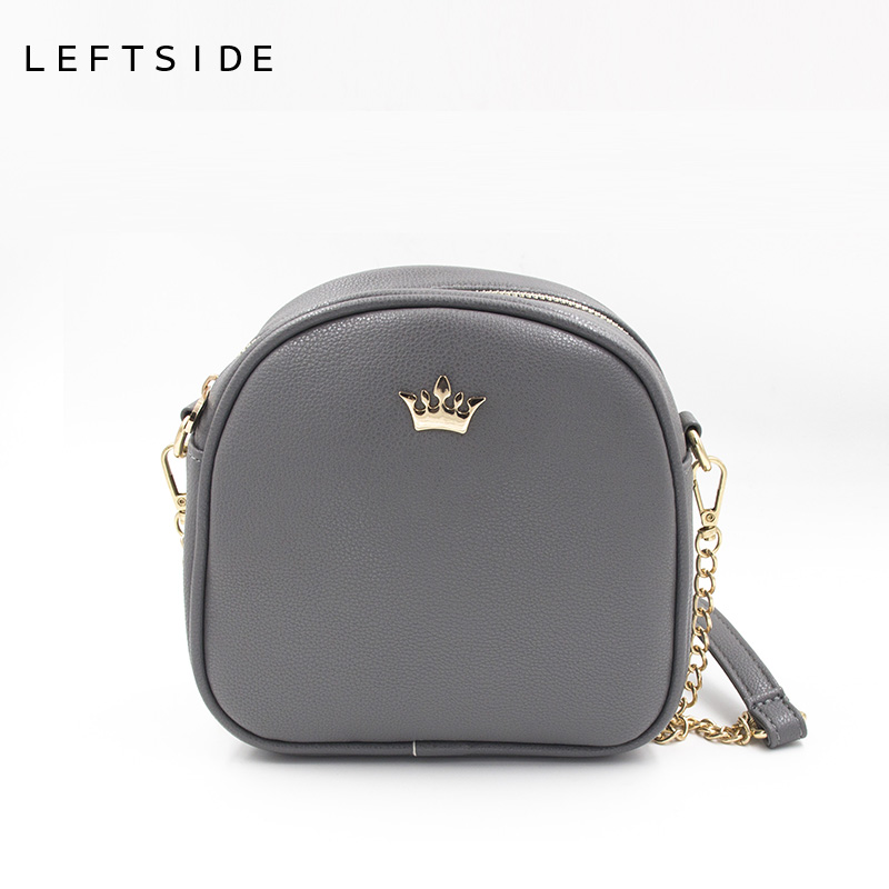 LEFTSIDE 2017 Korean Bags Crown Small Chain Ladies Handbags PU leather Mini hand bag Shoulder Messenger Crossbody Candy colors jeans woman 2017 korean fashion skinny denim pants high waist double button sexy stretch capris trousers jeans mujer