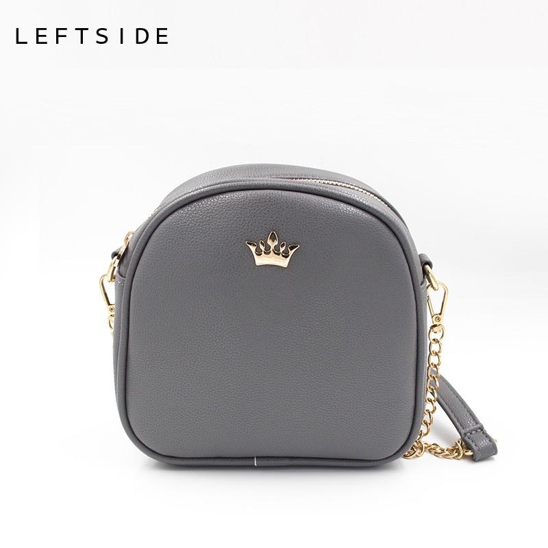 LEFTSIDE 2017 Korean Bags Crown Small Chain Ladies Handbags PU leather Mini hand bag Shoulder Messenger Crossbody Candy colors reichs kathy cross bones