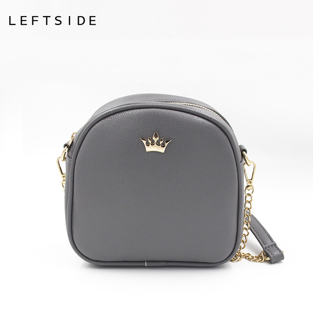 bb05755699 LEFTSIDE 2017 Korean Bags Crown Small Chain Ladies Handbags PU leather Mini  hand bag Shoulder Messenger Crossbody Candy colors