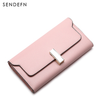 New Lady Purse Fashion New Wallet Split Leather Wallet Female Long Wallet Women Zipper Purse Strap Coin Purse For iPhone 7