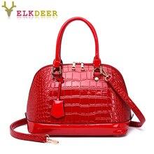 2019 new Shell small bag female high quality portable handbags fashion crocodile pattern shoulder Messenger bag Red Brown Black