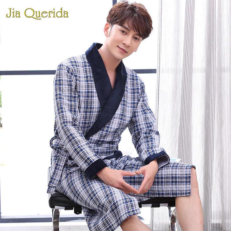 綿バスローブメンズドレッシングガウンのホームの服メンズバスローブ着物男性浴衣綿が詰めチェック柄上品バスローブ着物