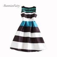 BunniesFairy 2016 Autumn New Audrey Hepburn 50s Vintage Stripe Print Robe Retro Swing Casual Rockabilly Dress