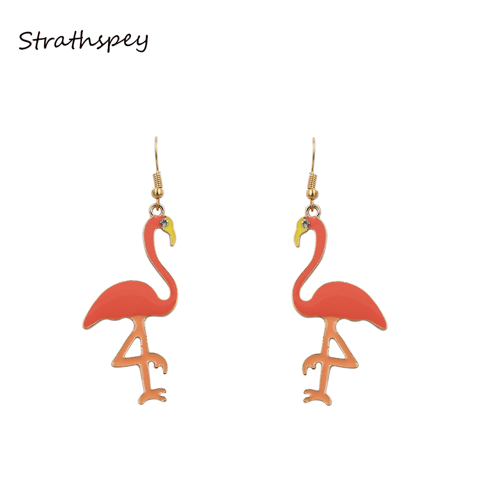 Strathspey Cute Fashion Long Charm Drop Earrings Lovely Bird Pink Flamingos  Dangle Earrings Accessories Women Jewelry