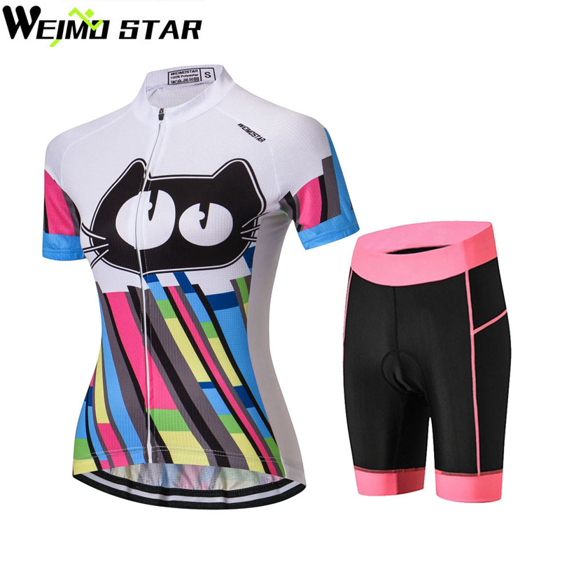 Cat Shirt Cycling Jersey WEIMOSTAR Women cycling clothing maillot ciclismo MTB Jersey Set Summer Short Sleeve Pad Shorts Suit