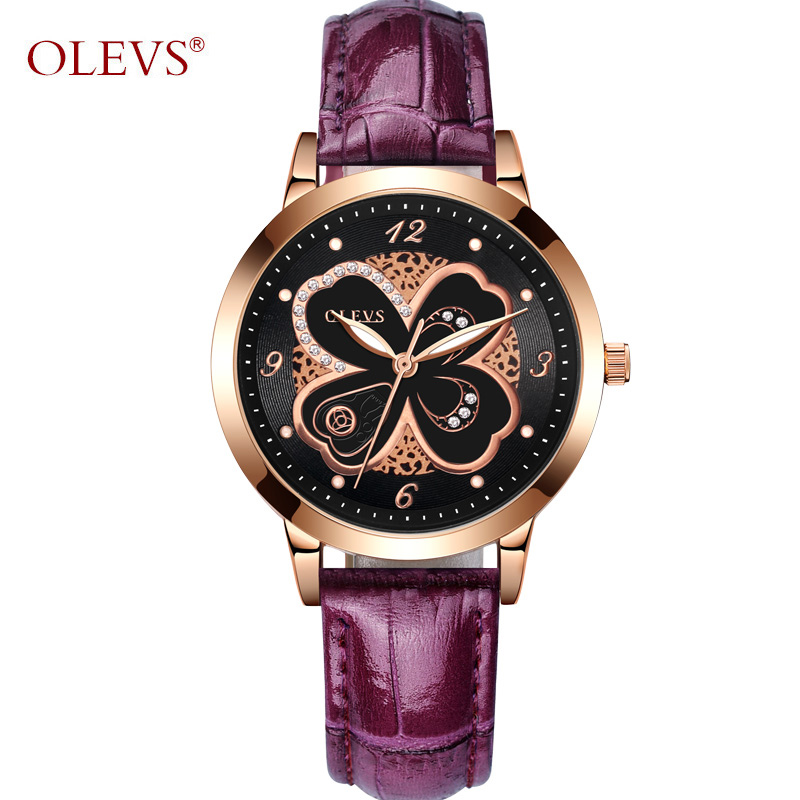 OLEVS Luxury Gold Ladies Watches Flowers Dial Leather Strap Women Quartz Wristwatch Purple/White/Pink/Red Luminous Woman's Watch olevs 5873 luxury hollow out dial watch women luminous hands golden quartz watches leather wristwatch ladies clock reloj mujer