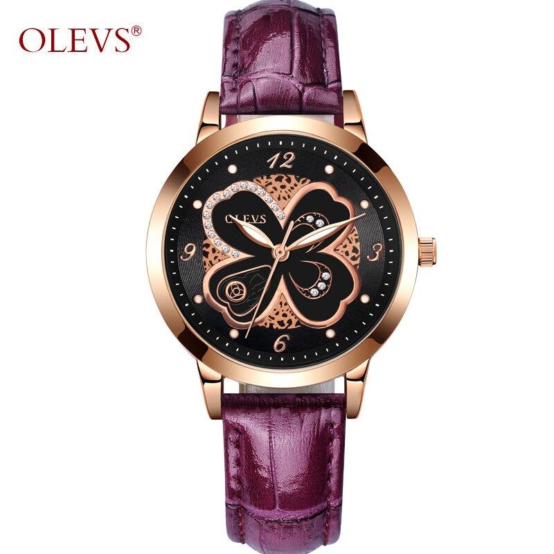 OLEVS Luxus Gold Damen Uhren Blumen Zifferblatt Lederband Frauen ...