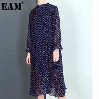 EAM 2018 New Spring Summer Round Neck Long Sleeve Blue Dot Printed Loose Solid Color