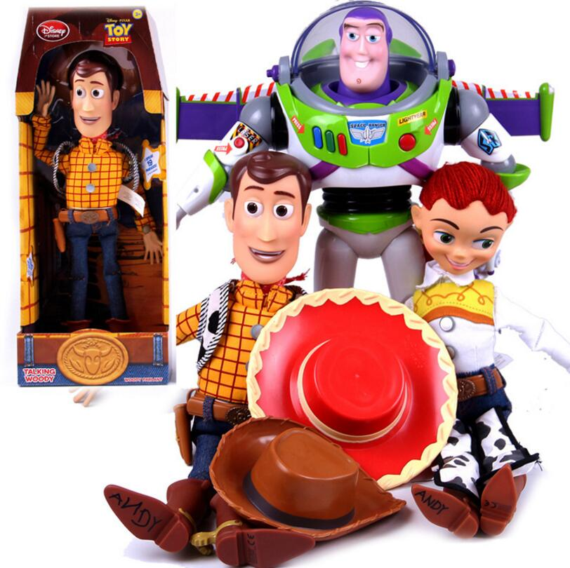 43cm Toy Story 3 Talking Woody Speaking Jessie Action Toy Figures Model Toys Plush Doll Figurine Children Christmas Gift toy story and beyond jessie costume toy story3 child buzz costume cowgirl toy story jessie tunic tank dress toddler dresses