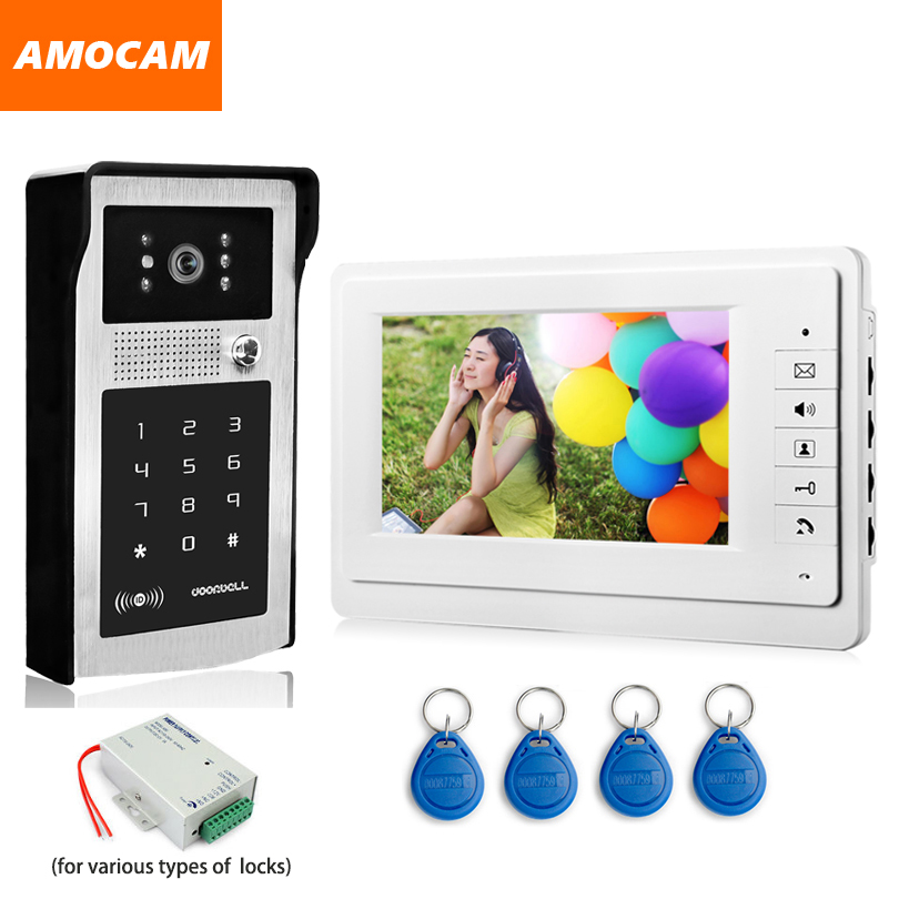 "7"" Video Doorbell Door Phone Intercom System Aluminum Alloy night vision Camera password RFID Card Unlock video interphone