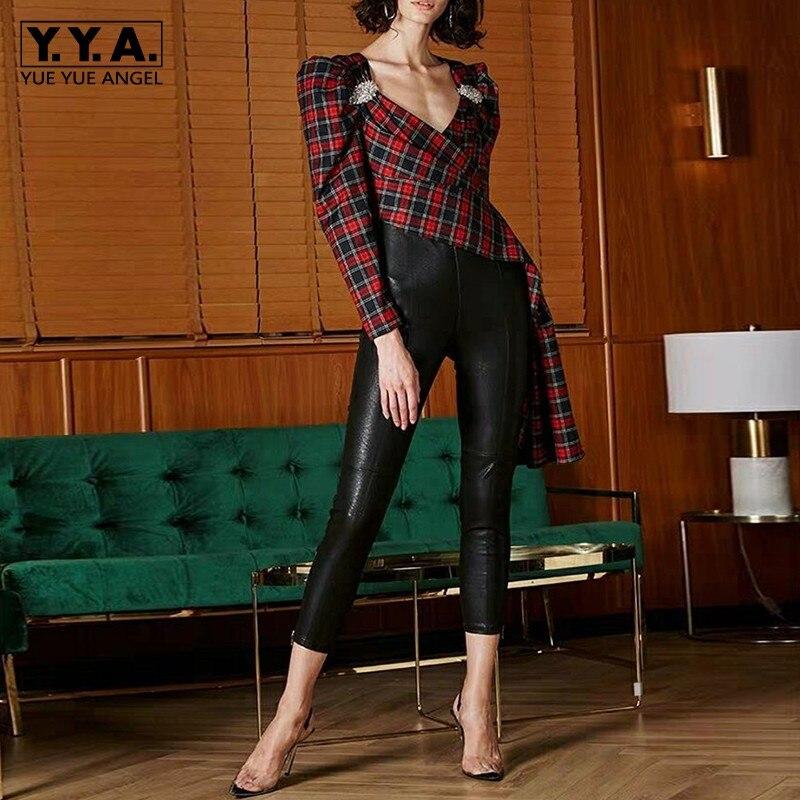 Haute qualité nouvelle mode 2019 Designer Blouse femmes v-cou Plaid asymétrique Blouse chemise piste diamants dame Blouses hauts
