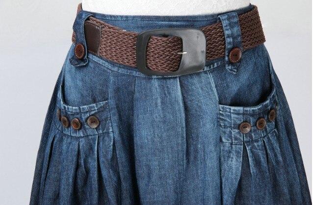 Makuluya été automne printemps femmes nouvelle mode Long Denim lâche décontracté élastique taille jupes bouton décoration avec ceinture QW - 5