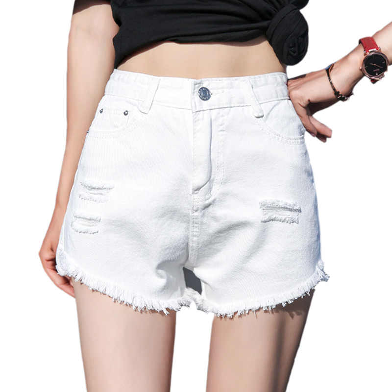 buy sale outlet store details for White Black Denim Shorts Women Boot Short 2018 Fashion Tassel Hole High  Waist Summer Jeans Sexy Shorts For Woman Street Wear