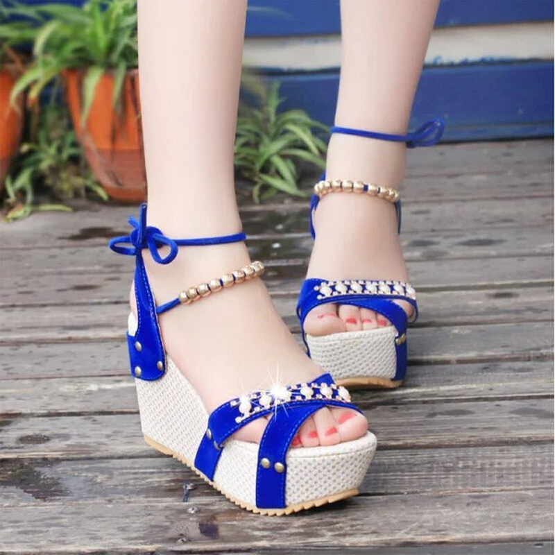 ФОТО Superior Quality Summer style comfortable Bohemian diamond joker Women sandals for Lady shoes high platform open toe flip flops