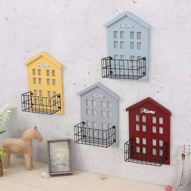 Vintage pastoral small house wall shelf living room wall mounted storage rack wall flower shelf room hanging decoration 2
