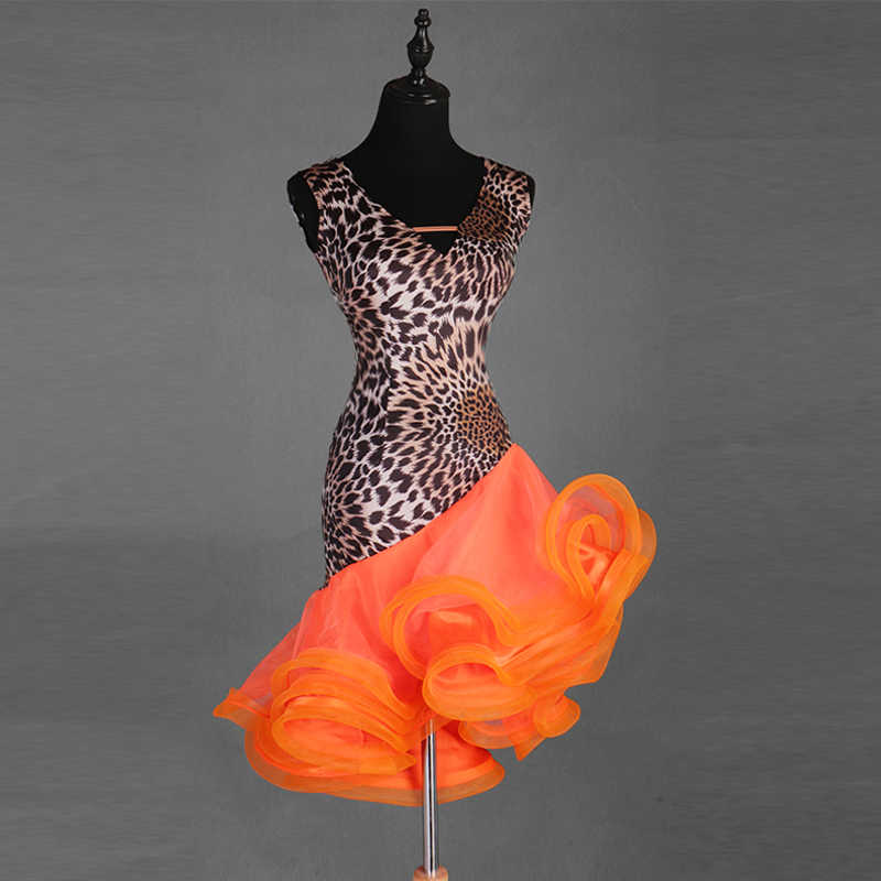 Nouvelles robes et robes latines Sexy col en V robes de danse latine cancan
