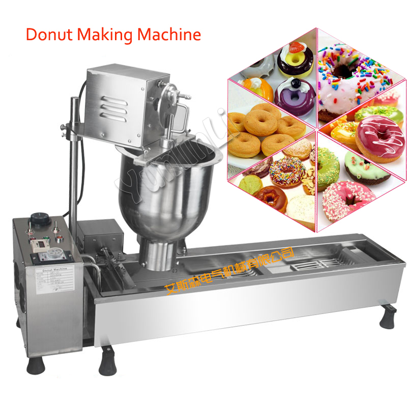 Fully-Automatic Donut Maker Multi-Functional Donut Making Machine Commercial Stainless Steel Donut Maker with 3 molds commercial manual donut making machine maker for baking 4 mini donuts