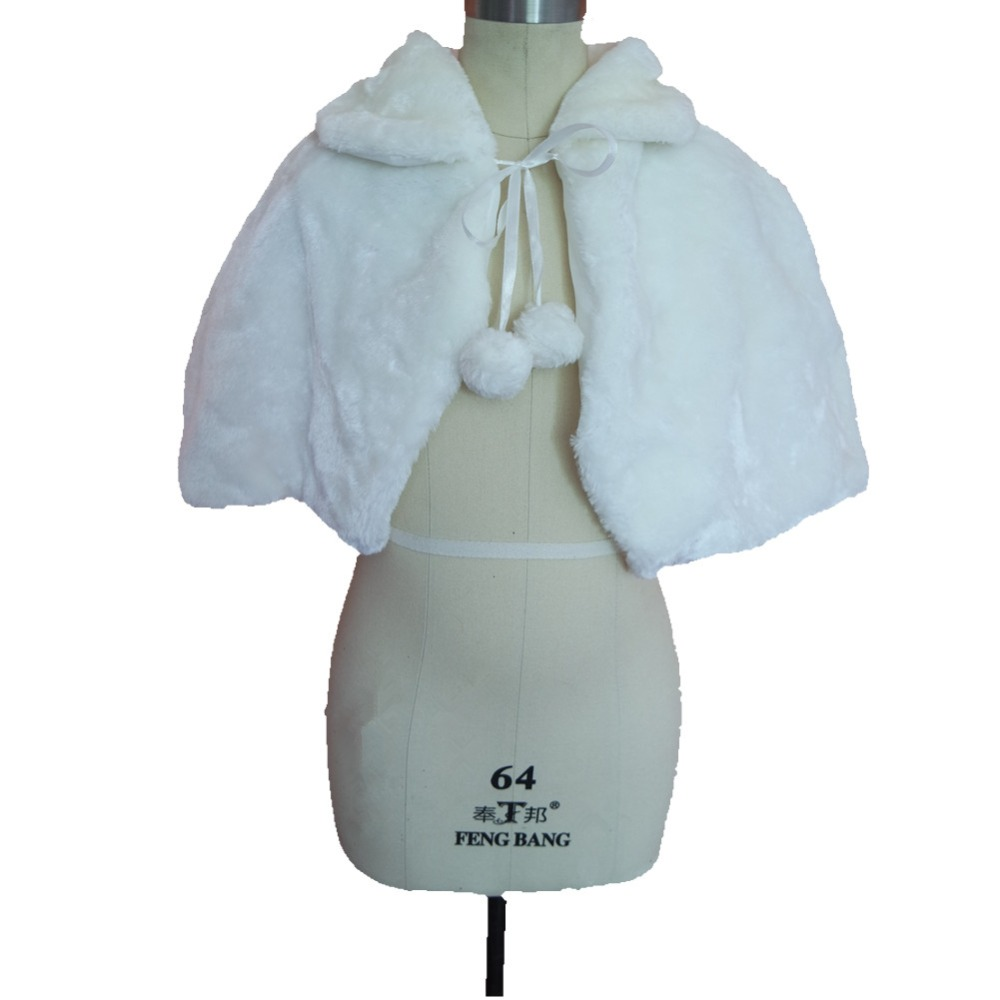 ruthshen Ivory White Wedding Party Flower Girl Faux Fur Stole Wraps Cape Kids Fall Winter Shrug Jackets In Stock