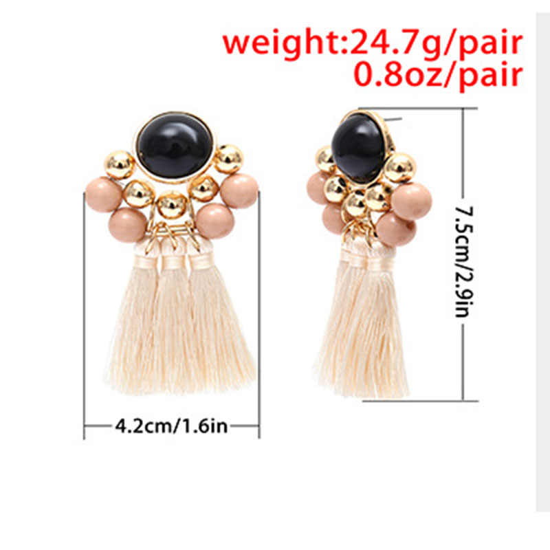 Long Tassel Earrings for Women Fashion Jewelry Vintage Round Bead Fringed Drop Dangle Earring Statement Tassel Female Jewellery