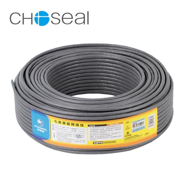Choseal 30th yıldönümü QS6172A Cat7 Ethernet Kablosu 10 Gigabit 2 Koruyucu Ağ Kablosu Cat 7 Saf oksijen-ücretsiz Bakır çekirdek