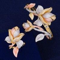 GODKI Trendy Luxury Flower Nigeria Bangle Ring Jewelry Sets For Women Wedding Cubic Zircon Crystal CZ Dubai Bridal Jewelry Sets