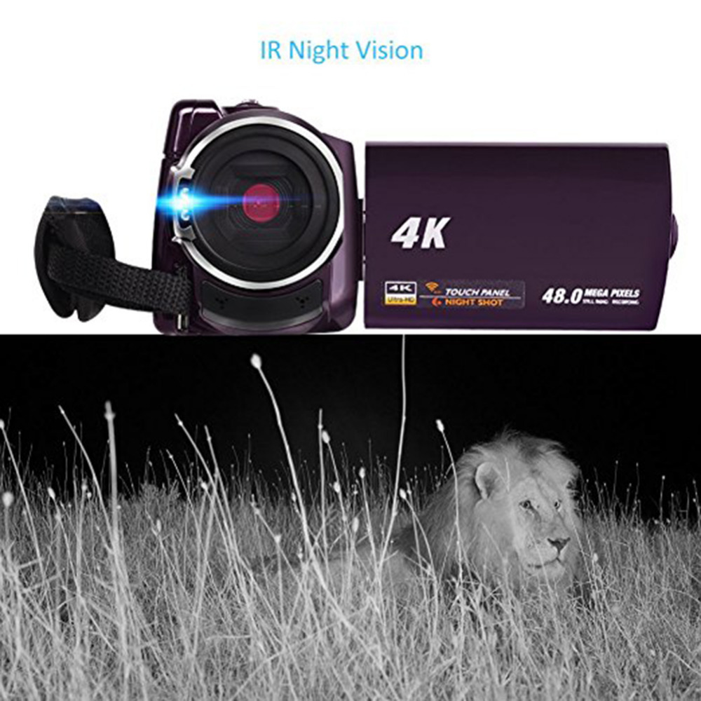HTB1un18czgy uJjSZR0q6yK5pXay New 4K Camcorder Video Camera Camcorders Ultra HD Digital Cameras and Video Recorder with Wifi/Infrared Touchscreen Angle Lens