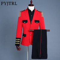 PYJTRL Brand 2018 Men Military Style Tassels Red Suits Latest Coat Pant Designs Wedding Suits For