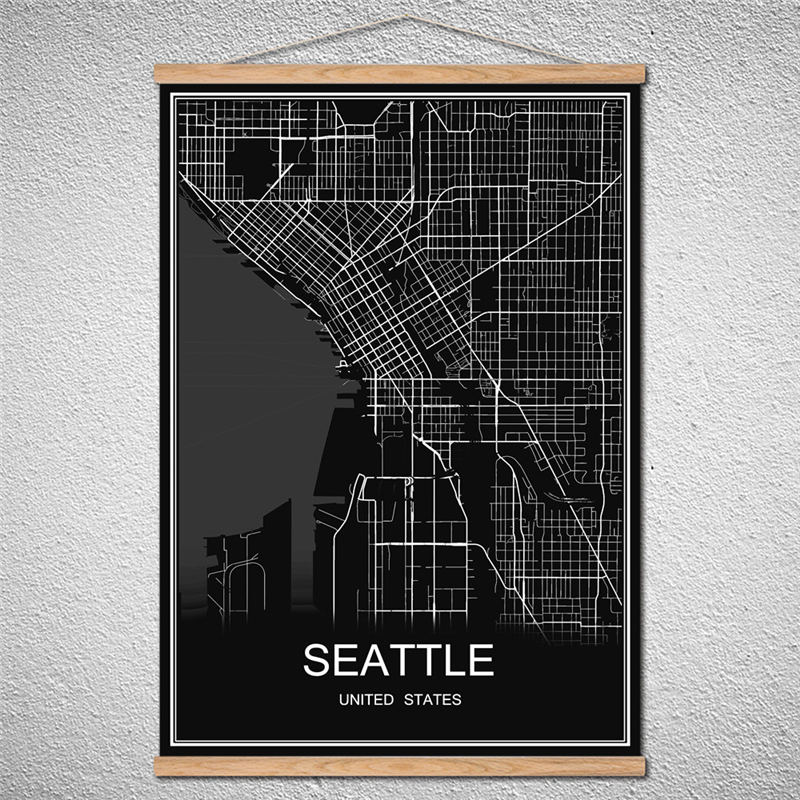 SEATTLE Oil Painting Can Be Customized Scroll Drawings World City map poster Canvas Abstract Cafe Bar With Frame Poster image