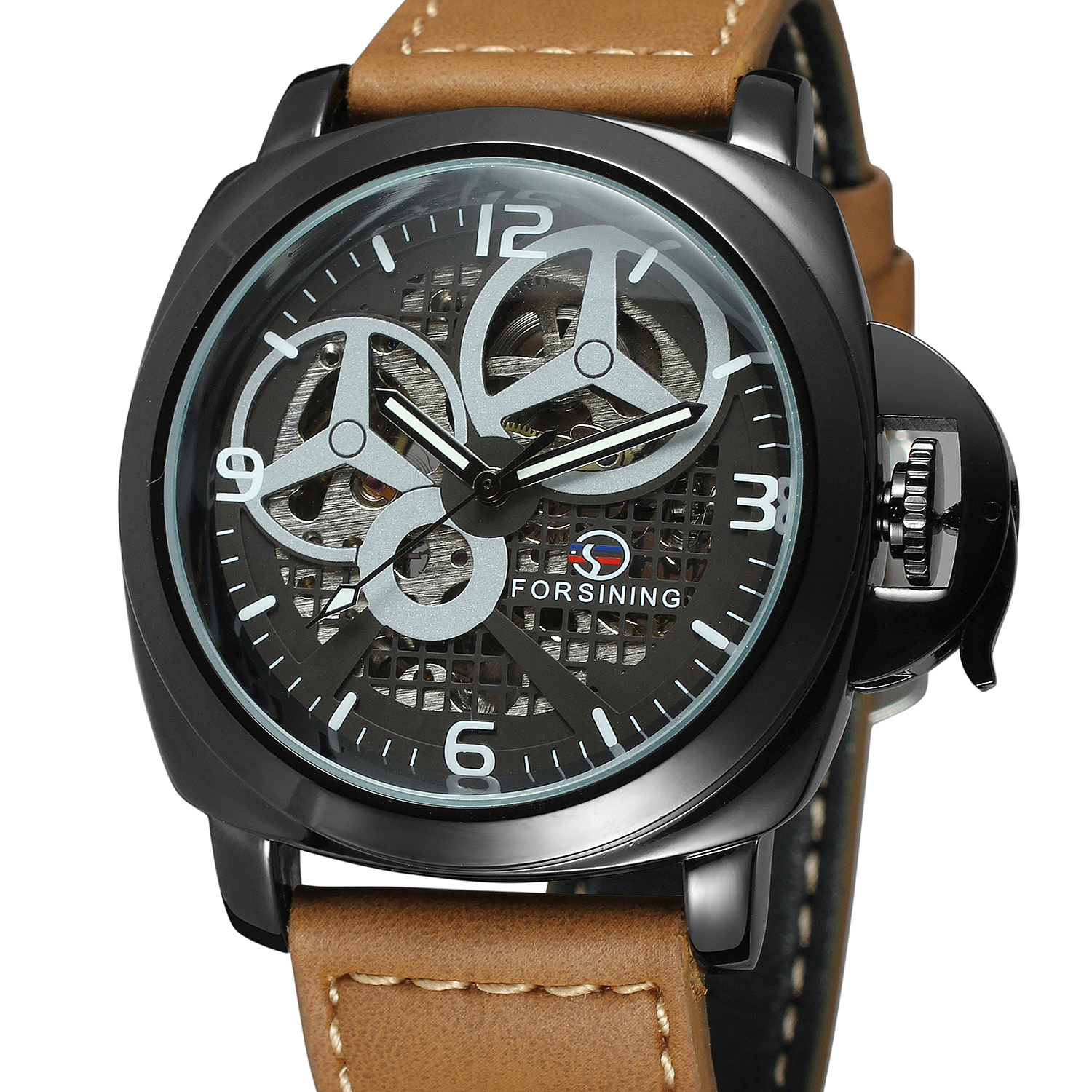 Fashion Forsining Top Brand Luxury Gold Skeleton Mechanical Clock Men Genuine Leather Brown Business Automatic Army Sports Watch
