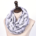 foulard femme New Fashion White Burgundy Navy Music Note Sheet Music Piano Notes Script Print Scarves Infinity Scarf