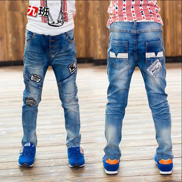 Los niños del Otoño y Primavera Niños Jeans jeans Denim Trouseres Carácter Informal Recta Cintura Elástica Masculino Boy Pantalones 2016 Más Nuevo