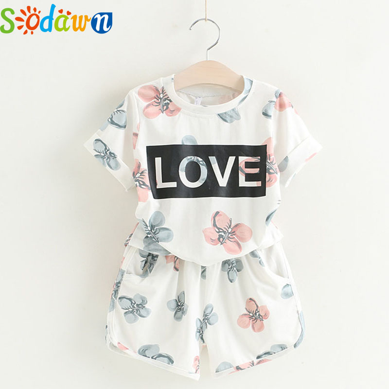 Sodawn 2017Summer Comfortable Fashion Kids Clothing Girls Clothing Set Cotton Letters Printed T-Shirt Shorts Suit Girls Clothes