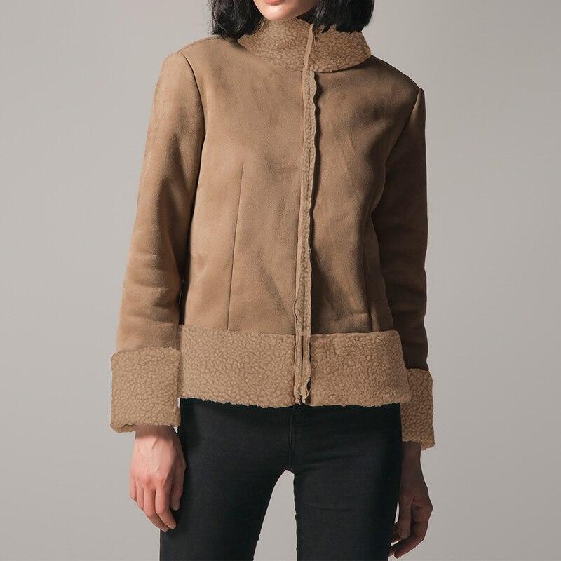 2018 Winter Women Coats Leather Fleece Jacket Turtleneck Patchwork Zipper Autumn Outwear for Female Elegant Slim Coat Plus Size