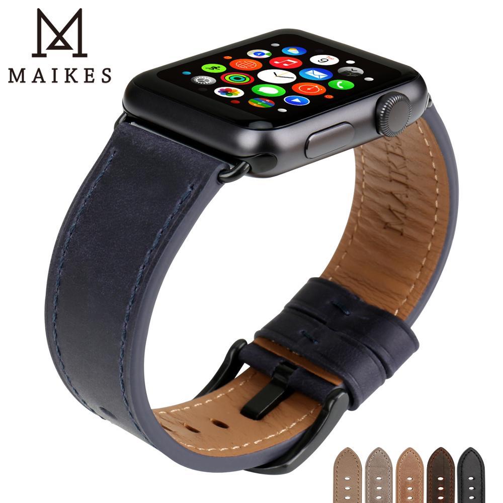 MAIKES Véritable Montre En Cuir Accessoires Pour Apple Montre Bande 44mm 40mm & iwatch Bandes 42mm 38mm série 4 3 2 1 Bracelet Bracelet