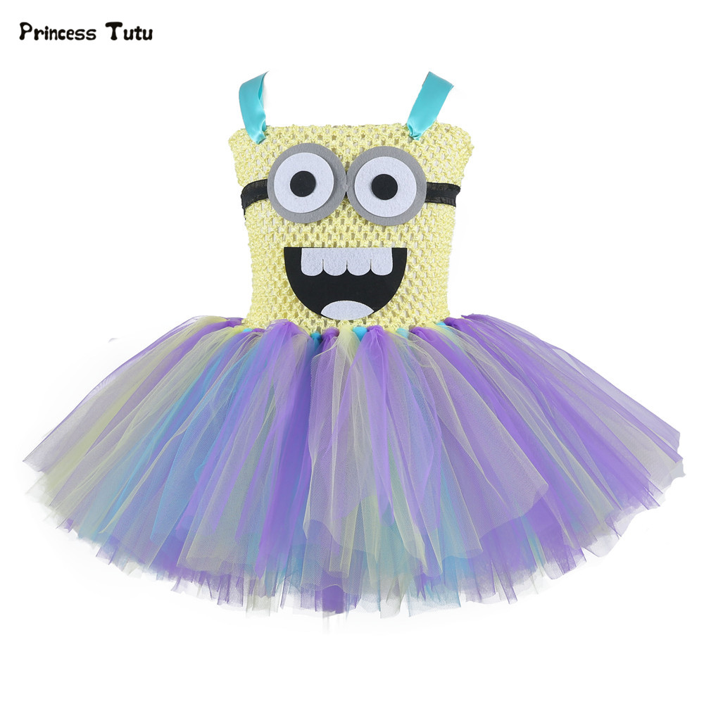Cute Girls Minion Tutu Dress Children Halloween Cosplay Costume For Kids Party Dance Birthday Dresses Cartoon Tulle Girls Dress цены онлайн