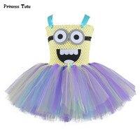 Sevimli Kız Minion Tutu Elbise Çocuk Cadılar Bayramı Cosplay Kostüm Çocuk Parti Dans Doğum Günü Elbiseler Karikatür Tül Kız Elbise Için