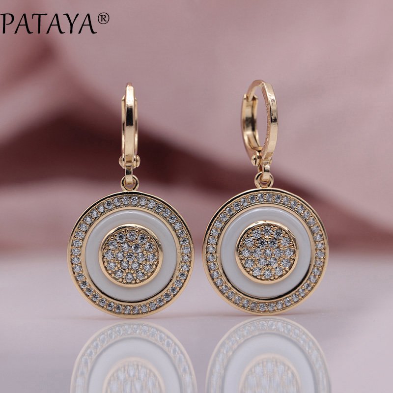 PATAYA New True White Gold Round Natural Zircon Black Ceramic Long Dangle Earrings 585 Rose Gold Women Wedding Luxury Jewelry все цены