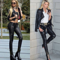 High Waist Stretch Pu Leather Pants Women Skin Tight Motorcycle Gothic Punk Rock Pencil Trousers Zipper Moto Biker Plus Size XS