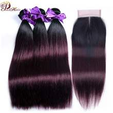 1B Burgundy Ombre Bundles With Closure Red 99J Peruvian Straight Human Hair 3 Bundles With Closure Thick Bundle Pinshair Nonremy(China)